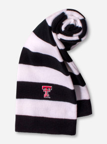 Logofit Texas Tech Double T on Black & White Striped Scarf