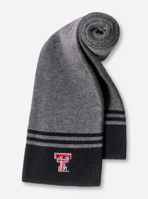Logofit Texas Tech Double T on Charcoal & Black Striped Scarf