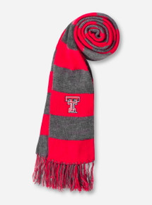 Logofit Texas Tech Double T Red & Charcoal Striped Scarf