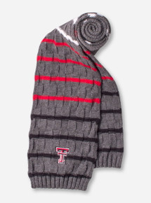 The Game Texas Tech Double T on Charcoal Striped Scarf
