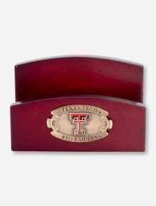 Texas Tech Red Raiders Wood Business Card Holder with Brass Emblem