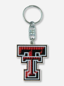Glitter Double T Red & Black Keychain