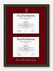Texas Tech Mahogany Rope Red Suede Double Mat Diploma Frame T17
