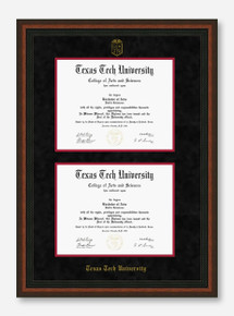 Texas Tech Mahogany Rope Black Suede Double Mat Diploma Frame T18