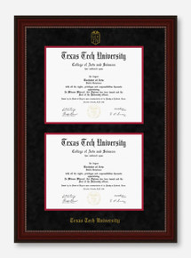 Texas Tech Cherry Bead Black Suede Double Mat Diploma Frame T19