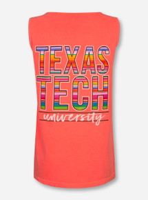 Texas Tech Baja Blanket Stack on Neon Red-Orange Tank Top