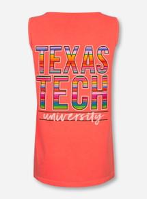 Texas Tech Baja Blanket Stack on Neon Red-Orange Tank Top