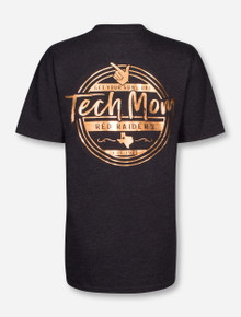 Texas Tech Rose Gold Foil Tech Mom on Heather Charcoal T-Shirt