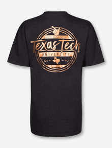 Rose Gold Foil Texas Tech on Heather Charcoal T-Shirt