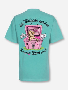 """Texas Tech Red Raiders """"Tailgating Dog"""" on Chalky Mint T-Shirt"""