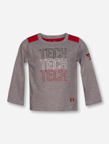 Under Armour Texas Tech Repeating TECH on Heather Grey INFANT Long Sleeve