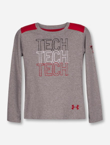 Under Armour Texas Tech Repeating TECH on Heather Grey KIDS Long Sleeve