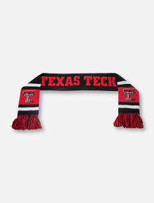 Texas Tech & Double T on Fringed YOUTH Black Scarf