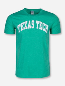 Classic Texas Tech Arch in White on Irish Green T-Shirt