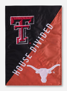 """House Divided: TTU/UT Black & Orange 12.5"""" x 18"""" Flag"""