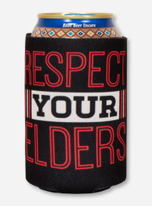 Texas Tech Alumni - Respect Your Elders on Black Can Cooler