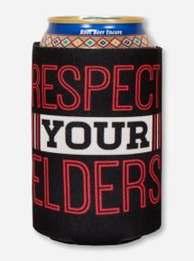 Texas Tech Alumni - Respect Your Elders on Black Can Cooler