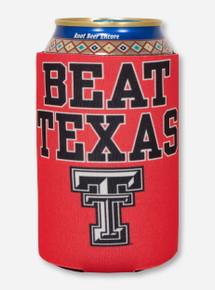 Beat Texas & Double T on Red Can Cooler- Texas Tech