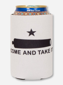 Come & Take it on White Can Cooler- Texas Tech