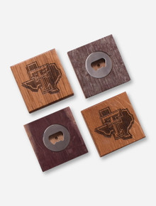 Texas Tech Red Raiders Wood Bottle Opener Coaster Set