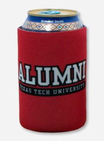 Texas Tech Double T Alumni Print on Red Can Cooler
