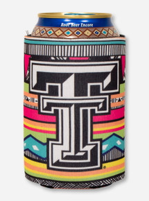 Texas Tech Double T on Multicolored Mara Pattern Can Cooler