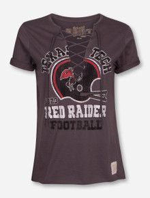 Texas Tech Red Raiders Vintage Helmet Lace-Up T-Shirt