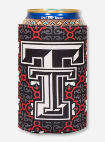 Double T on Red & Charcoal Morocco Pattern Can Cooler- Texas Tech
