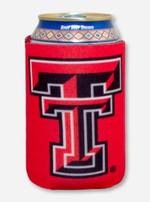 Texas Tech Double T on Red Can Cooler