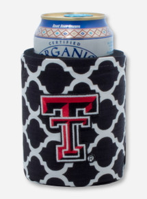 Embroidered Double T on Black & White Lattice Can Cooler- Texas Tech