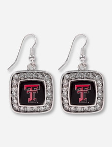 Texas Tech Red Raiders Double T Surrounded by Rhinestones Square Silver Earrings