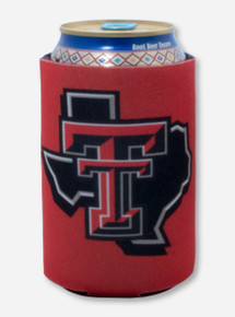 Texas Tech Lone Star Pride Logo on Red Can Cooler