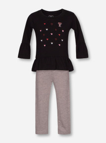"""Wes & Willy Texas Tech Red Raiders """"Ruffled Hearts"""" INFANT Top & Leggings Set"""