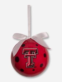 Texas Tech Red Raiders White Bow Polka Dot Christmas Ornament