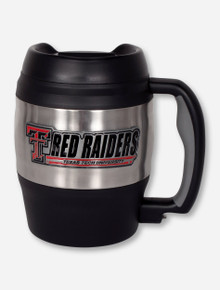 Texas Tech Metal Emblem on Gigantic Stainless Steel & Black Travel Mug