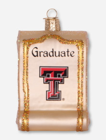 Texas Tech Red Raiders Glass Blown Diploma Ornament
