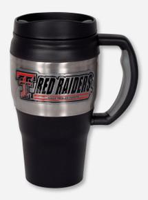 Texas Tech Metal Emblem on Large Stainless Steel & Black Travel Mug
