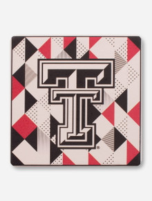 Texas Tech Red Raiders Double T on Geometric Ceramic Coaster