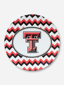 Texas Tech Double T on Black, White & Red Chevron Hors D'Oeuvre Plate