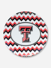 Texas Tech Double T on Black, White & Red Chevron Lunch Plate