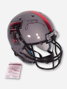 Schutt Texas Tech Grey Replica Helmet Signed by Michael Crabtree