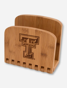 Texas Tech Laser Engraved Double T on Bamboo Napkin Holder