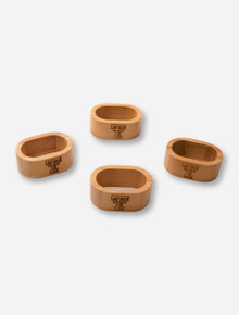 Texas Tech Set of 4 Laser Engraved Double T on Bamboo Napkin Rings