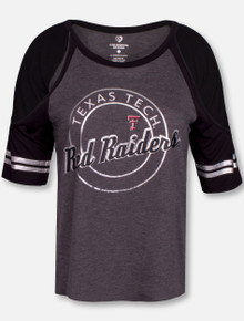 """Arena Texas Tech Red Raiders """"Mae"""" Cold Shoulder Charcoal Shirt (COTS30698HC)"""