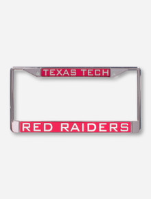 Texas Tech Red Raiders on Red and Chrome License Plate Frame