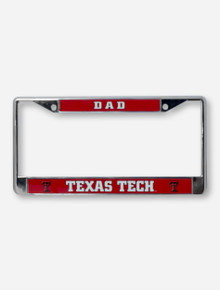 Texas Tech Dad on Red & Chrome License Plate Frame