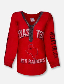 """Pressbox Texas Tech Red Raiders """"Boot Lace"""" V-Neck Long Sleeve Tee"""