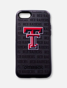 "Outterbox Texas Tech Red Raiders Double T on Black with Repeating ""Red Raiders"" Word Wrapped Background Cell Phone Case"