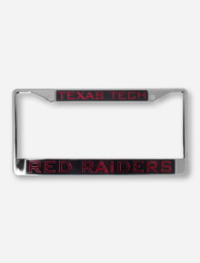 Texas Tech Red Raiders on Red, Black & Chrome License Plate Frame