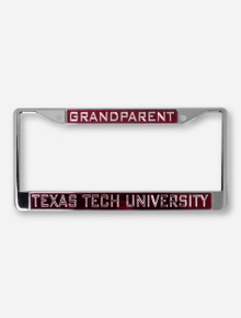 Texas Tech University Grandparent on Red & Chrome License Plate Frame